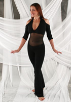 Mesh Middle Unitard - Halter -Sleeve / Bootcut