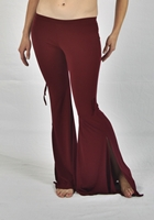 Burgundy Lycra Flare Pants with Ruched Sides